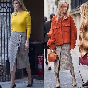 dfa7b8b9c9 Zara Skirts | New Check Herringbone Wrap Midi Skirt M | Poshmark
